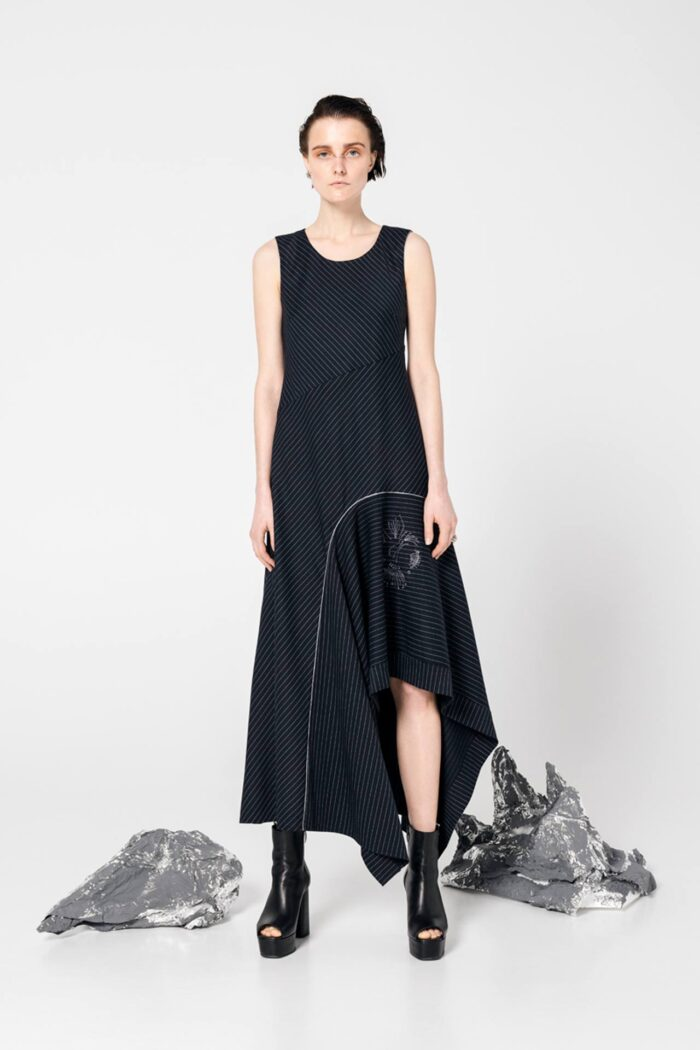 STELLAR LINES'' ASYMMETRIC DRESS LUNAR BLUE
