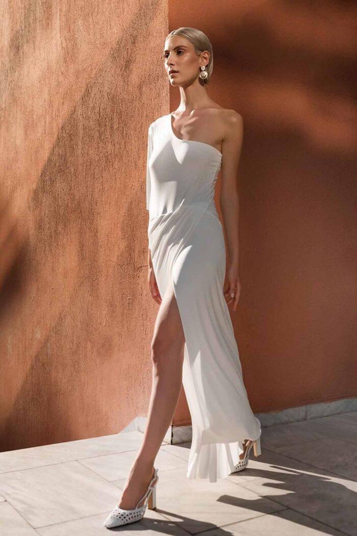 VENEZIA ONE-SHOULDER DRESS ECRU