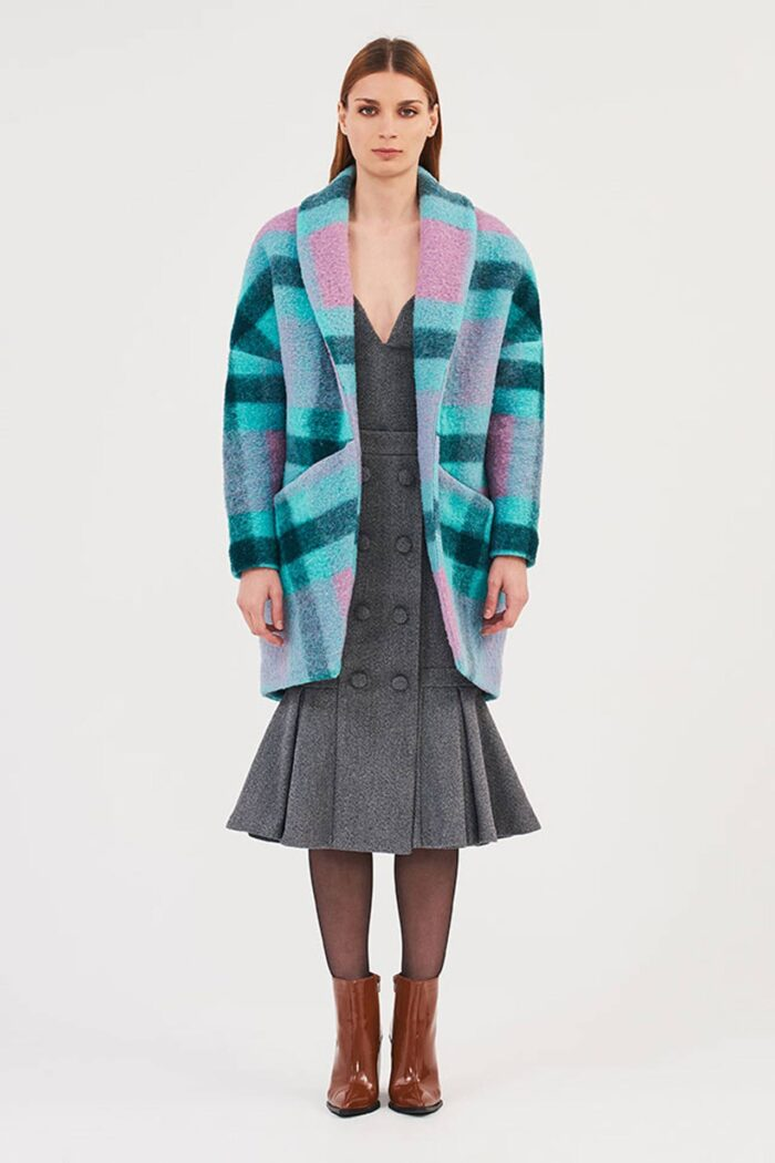 EGGSHAPED MULTI TURQUOISE CHECKED COAT