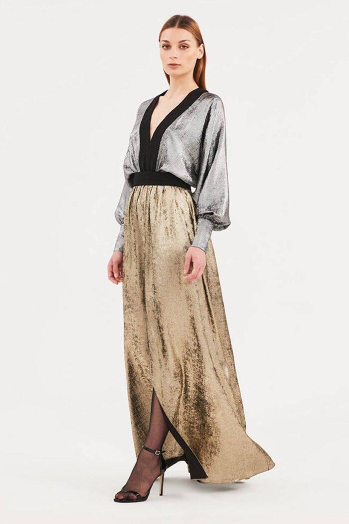 COLOURBLOCKED METALLIC LONG DRESS GOLD/SILVER