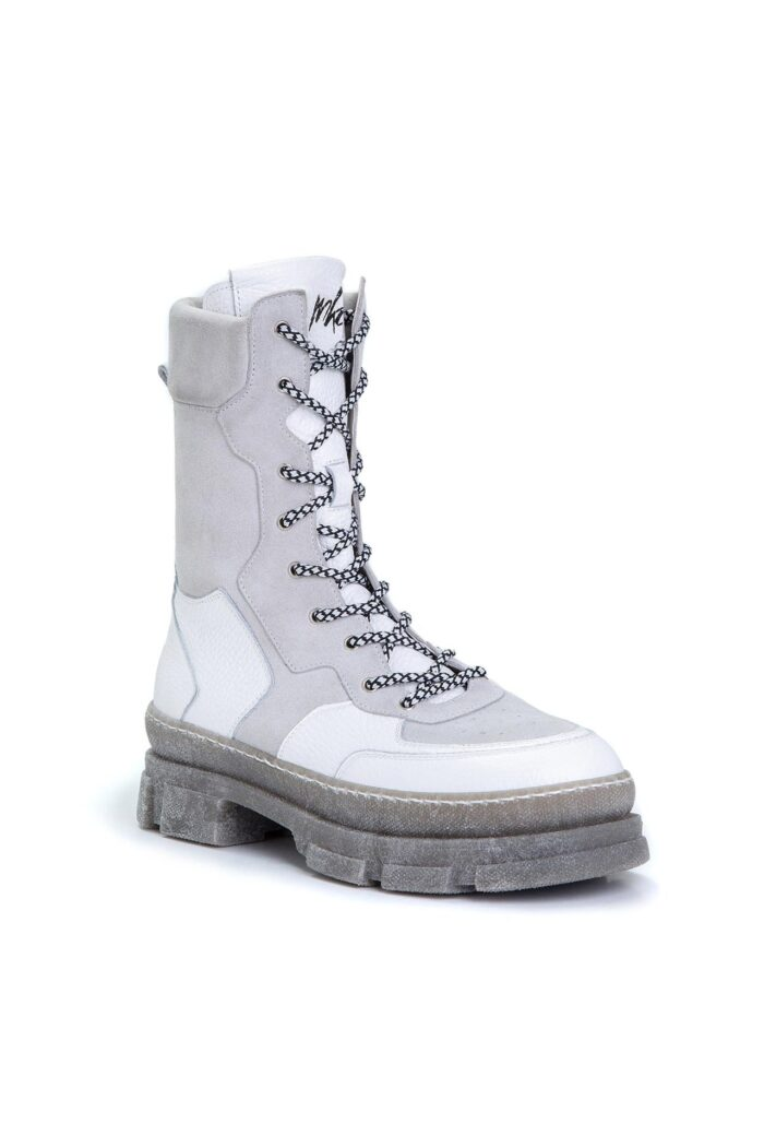 LACED BOOTS LIGHT GREY/WHITE
