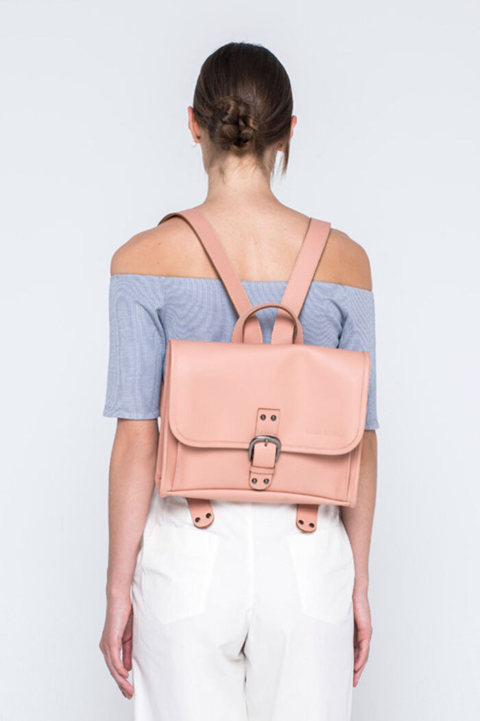 SMALL SIZE LEATHER BACKPACK SHRIMP