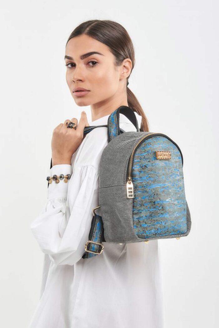 Backpack mini Fashion Blue Fennel natural cork