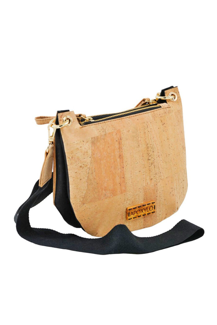 Double crossbody black/natural cork
