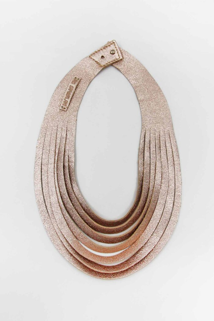 JUST CUT LEATHER NECKLACE ROSE GOLD