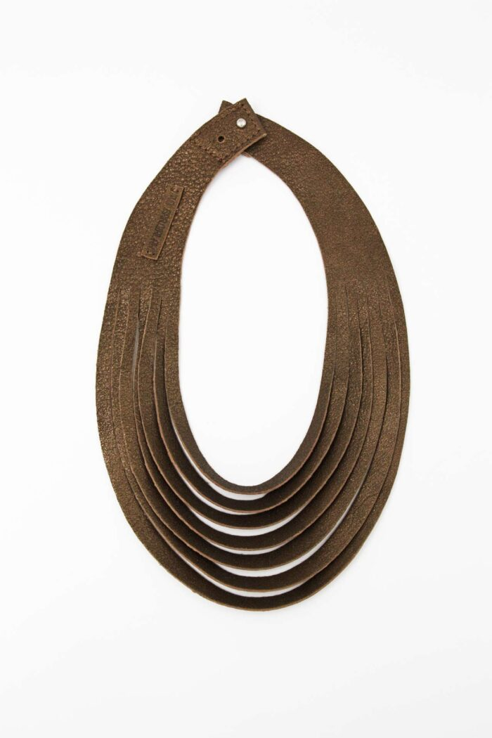 JUST CUT LEATHER NECKLACE BRONZE