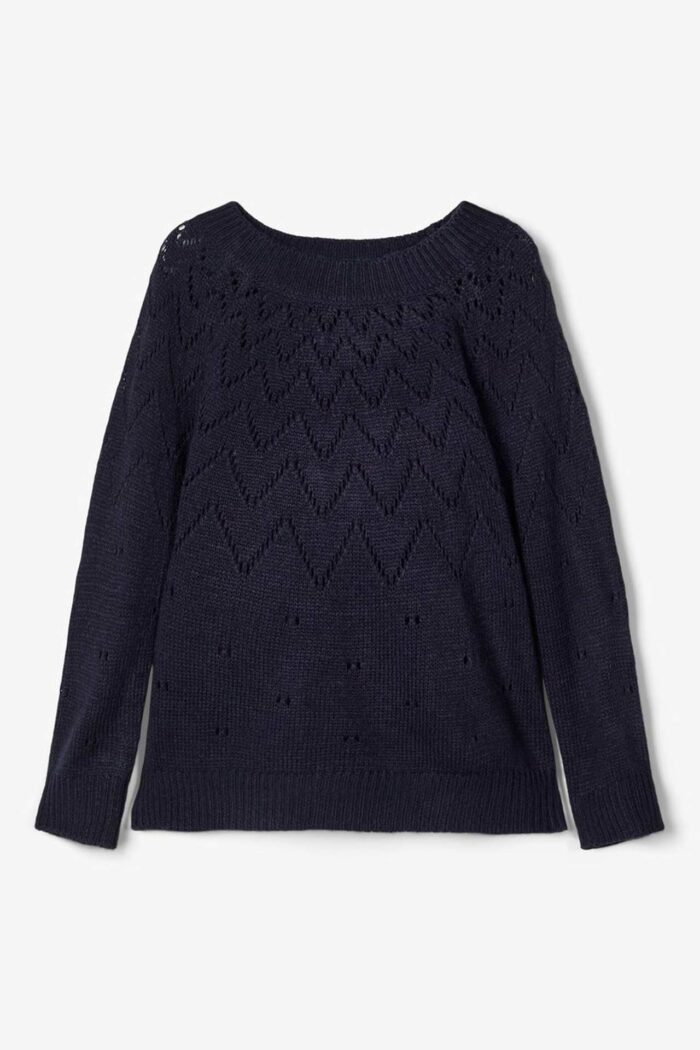 PERFORATED KNITTED JUMPER NAVY