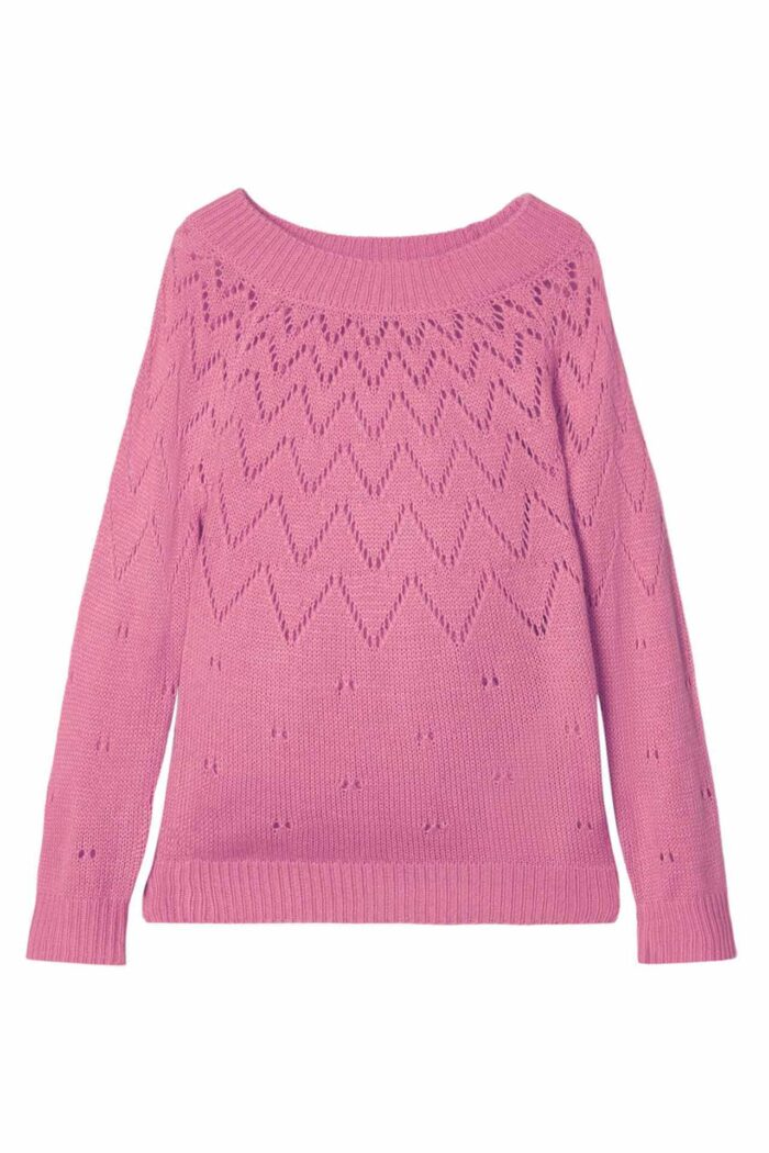 PERFORATED KNITTED JUMPER PINK