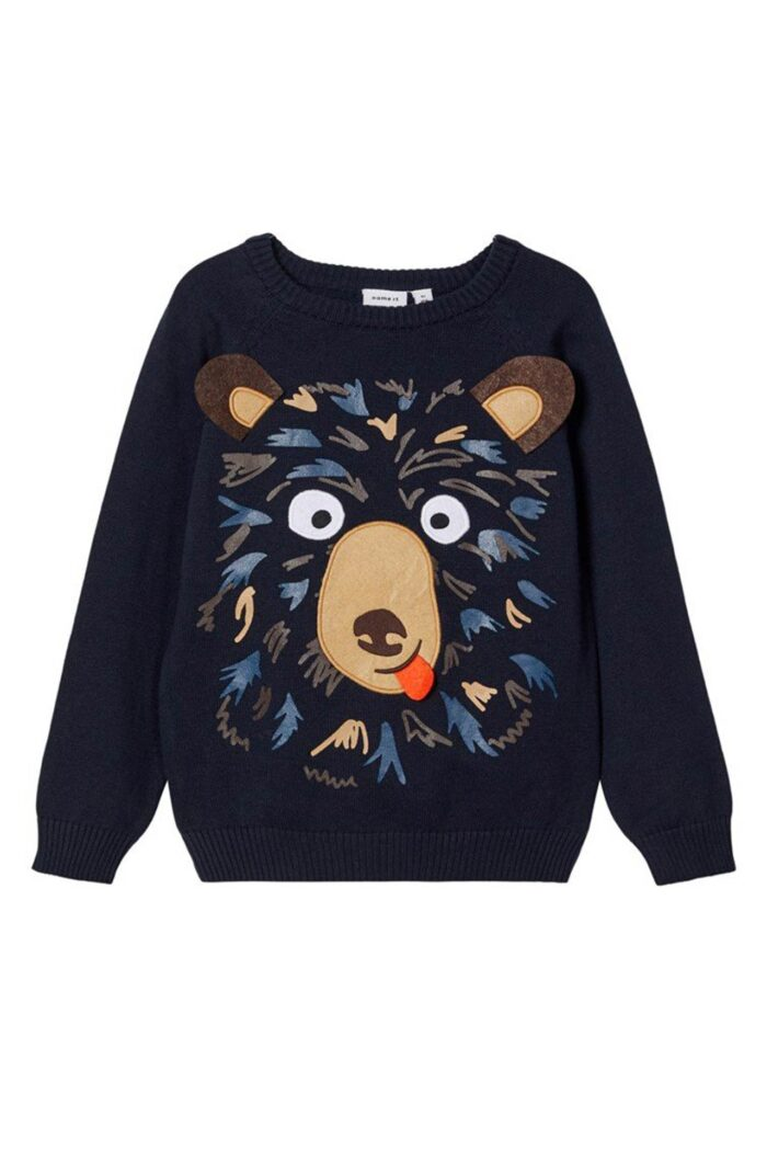 KNITTED JUMPER HAPPY BEAR NAVY