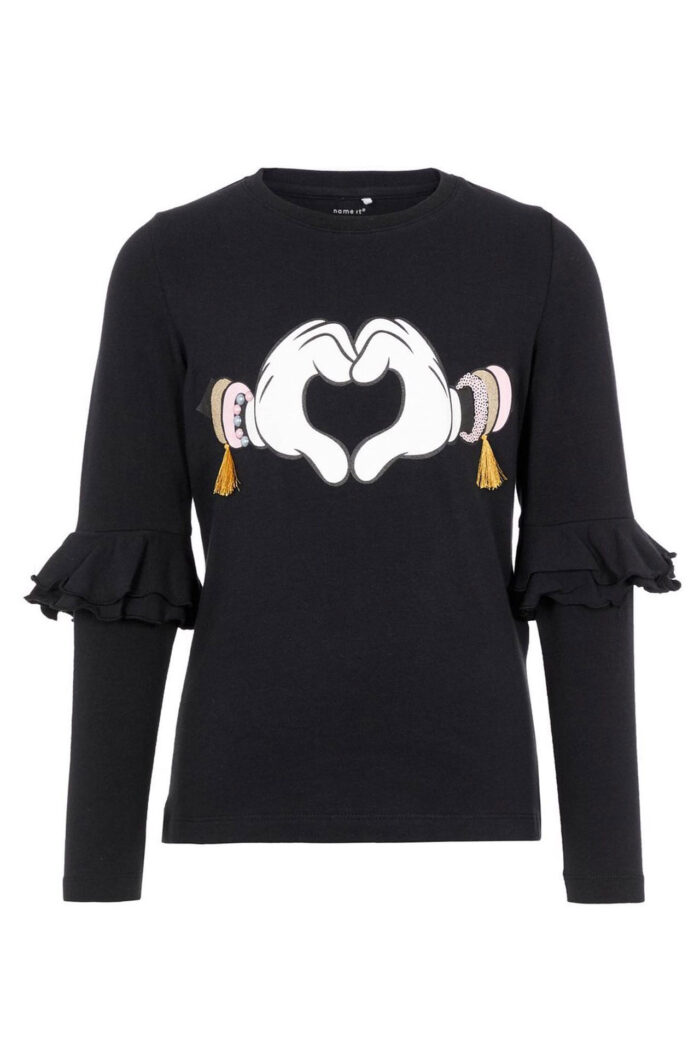 DISNEY GLITTER MINNIE BLOUSE BLACK