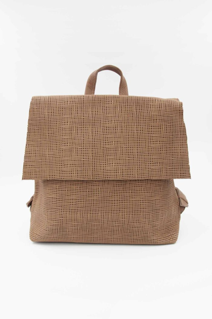 BACKPACK SQUARE LEATHER NUDE