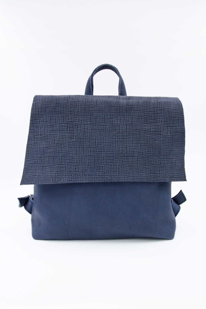 BACKPACK SQUARE LEATHER BLUE