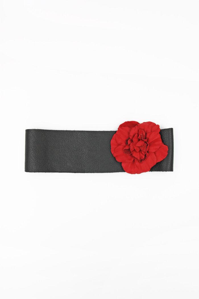 FLOWER LEATHER BELT BLACK/ROYAL RED