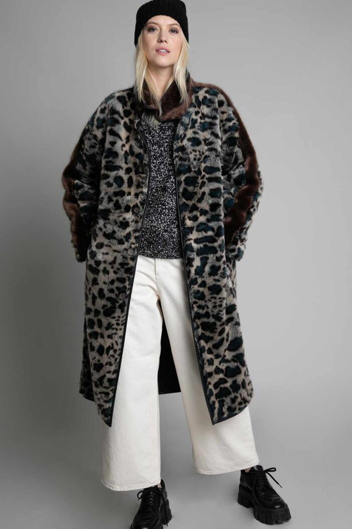 REVERSIBLE COAT LEOPARD