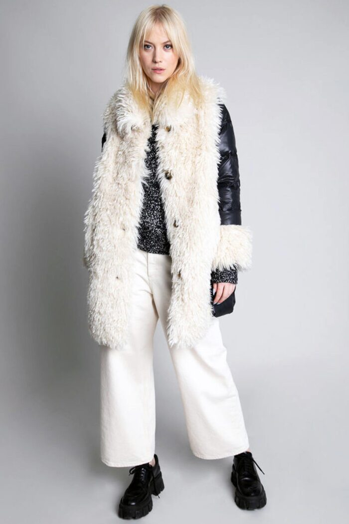 POPPY SHEEPY FAUX FUR JACKET BLACK