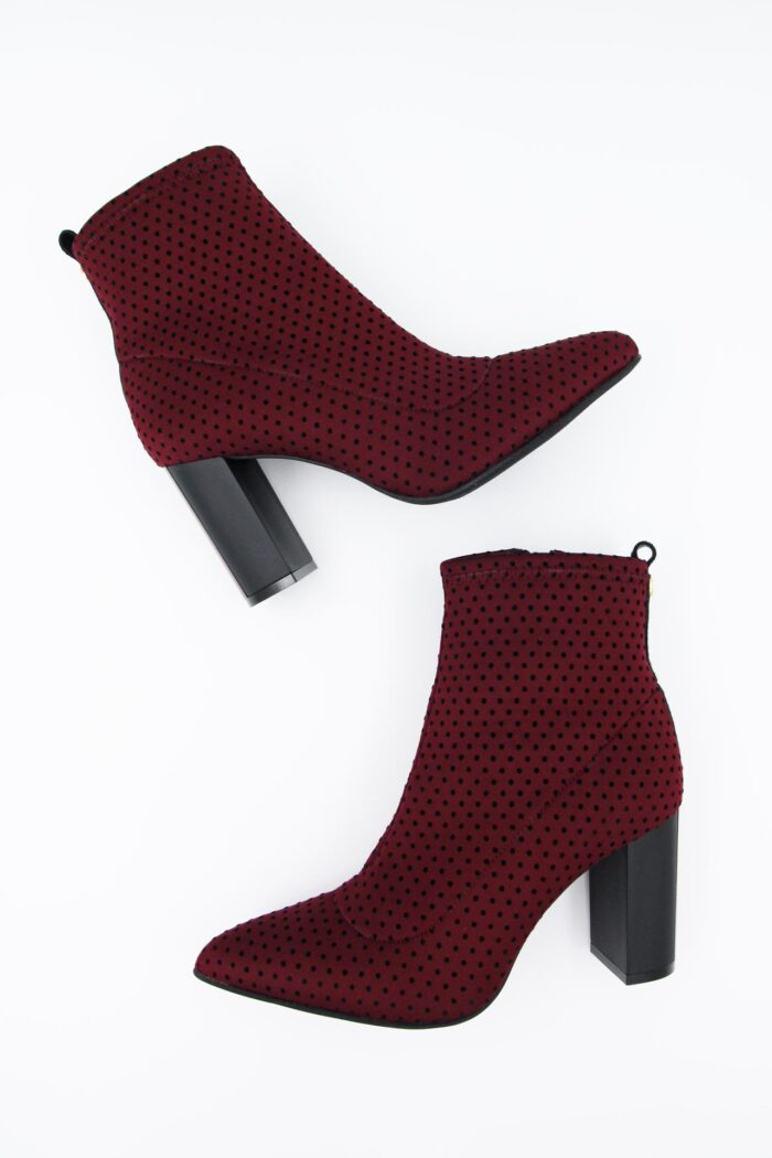 BORDEAUX POLKA DOTS HIGH HEEL BOOTIES