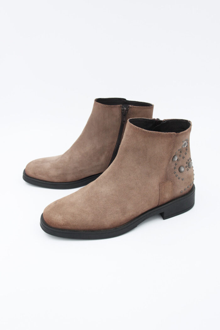 TAUPE SUEDE FLAT ANKLE BOOTS