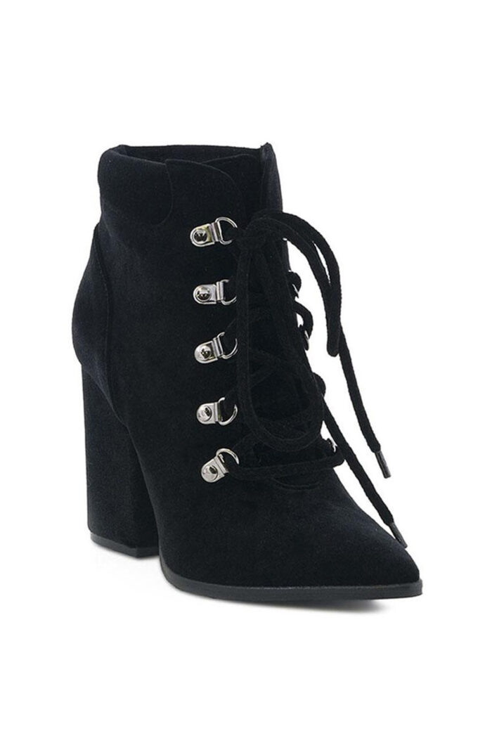 BLACK HANDMADE LACED HIGH HEEL BOOTIES