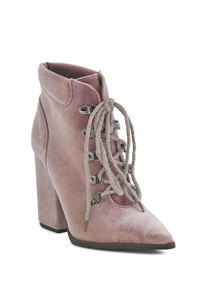 PINK HANDMADE LACED HIGH HEEL BOOTIES