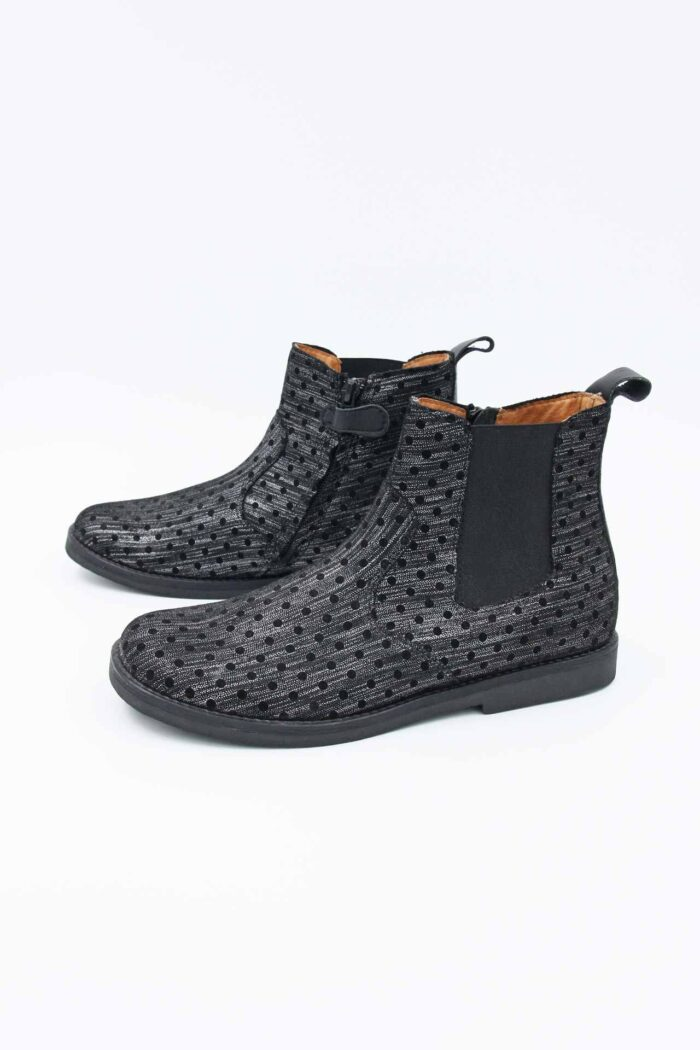 LEATHER GREY/BLACK ANKLE BOOTS