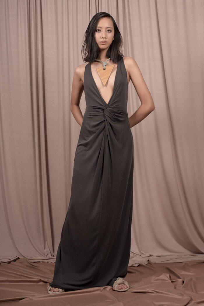 KNOT CUPRO TOUCH DRESS BLACK