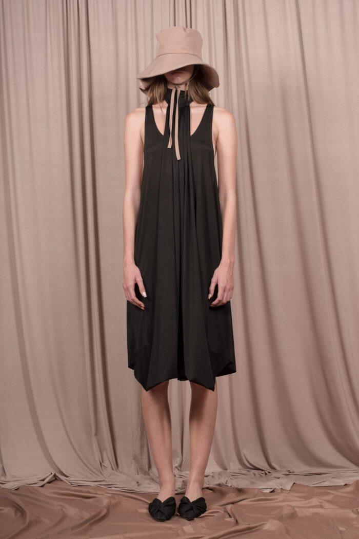SATIN POLYMORPHIC DRESS BLACK