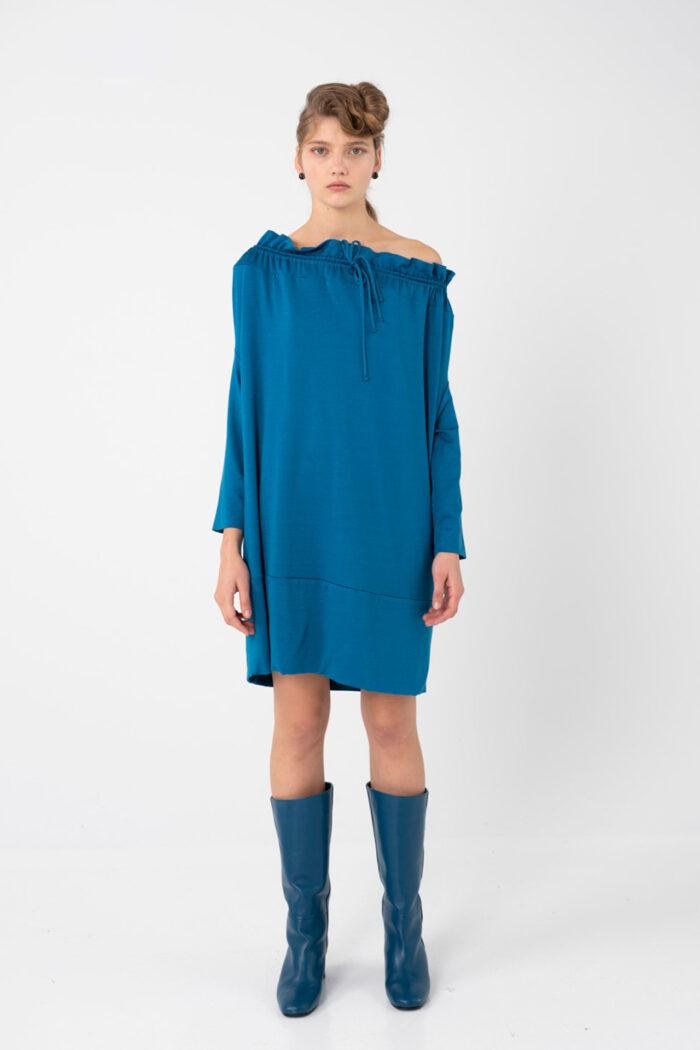 Blue Discreet Metallic – Mini Boxy Dress