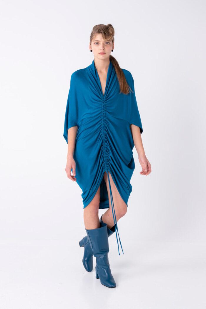 Blue Discreet metallic Drawstring Dress