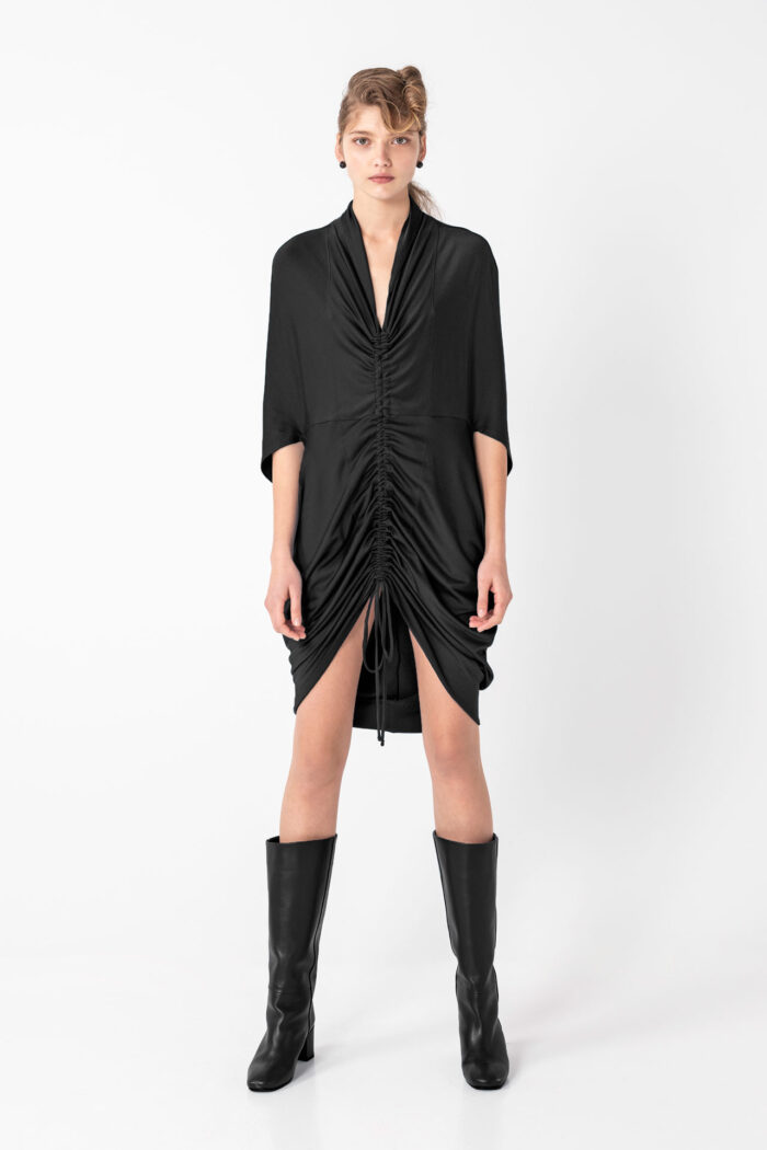 Black Discreet metallic Drawstring Dress