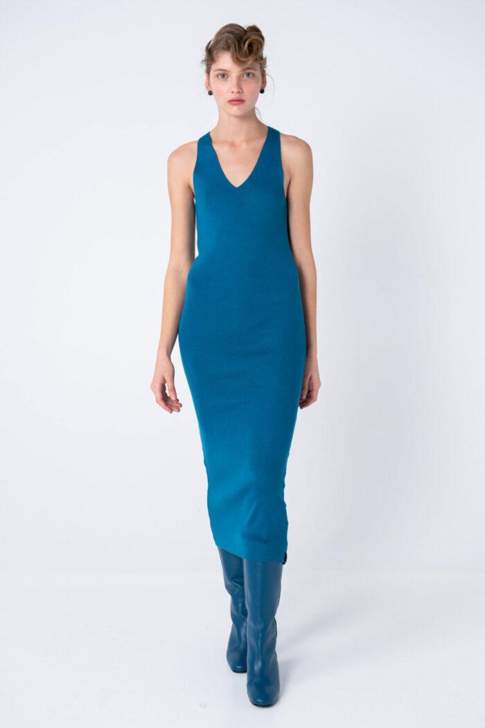 Blue Knit Fluid – Simple Maxi Dress