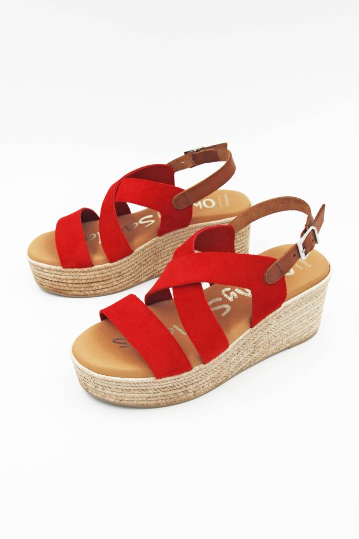 RED SUEDE ANATOMIC FLATFORMS