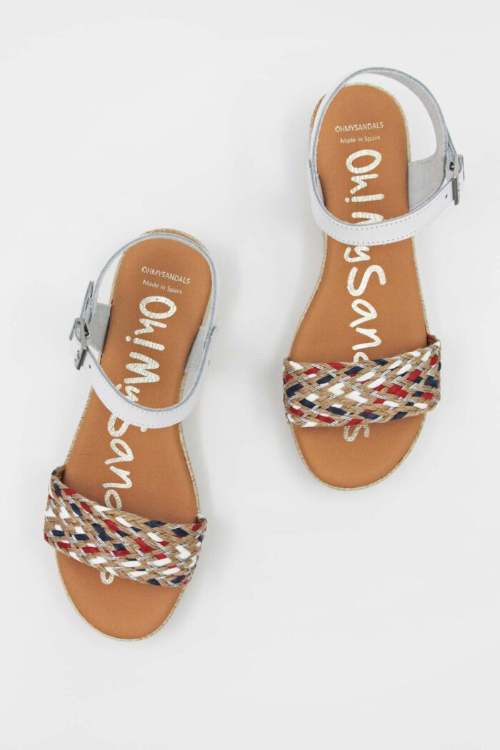 WHITE LEATHER AND WICKER ANATOMIC SANDALS