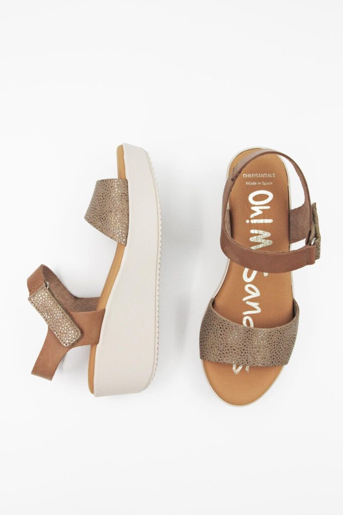 TAUPE AND BRONZE LEATHER SEMI PLATFORMS