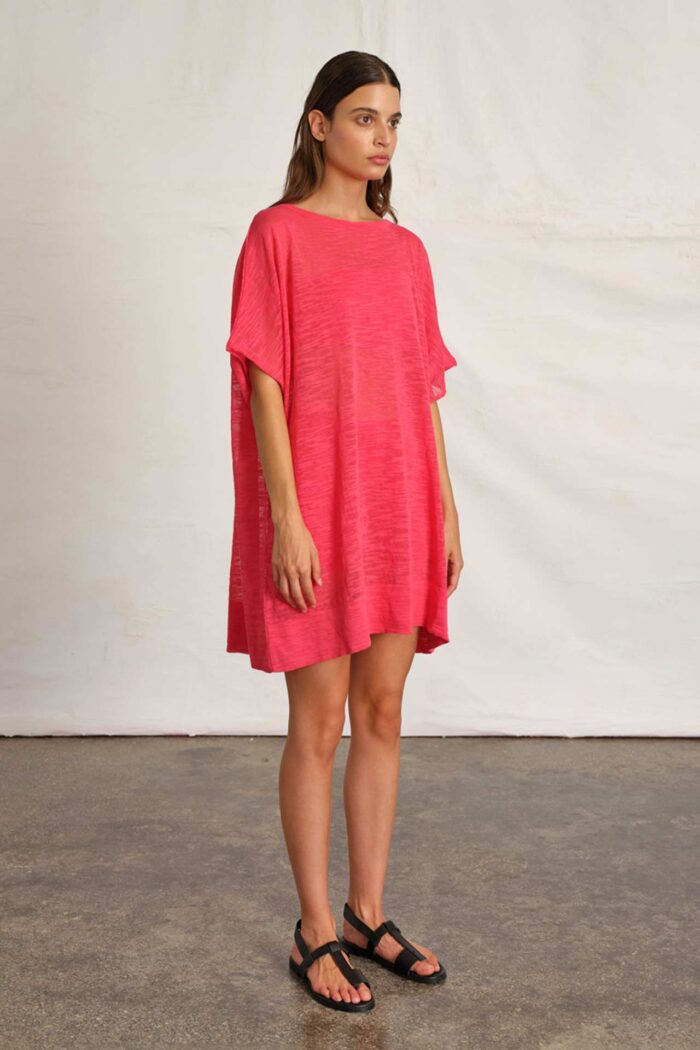 WATERMELON PINK MIDI DRESS RAW NATURE