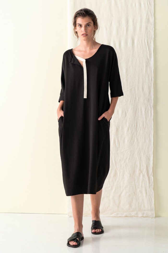 BLACK IRAKLIA OVERSIZE DRESS