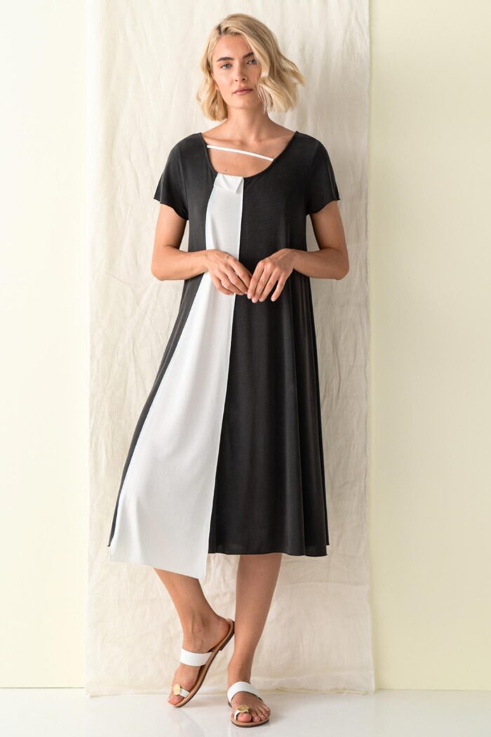 BLACK/WHITE OMORFI ASYMMETRIC CLOCHE DRESS
