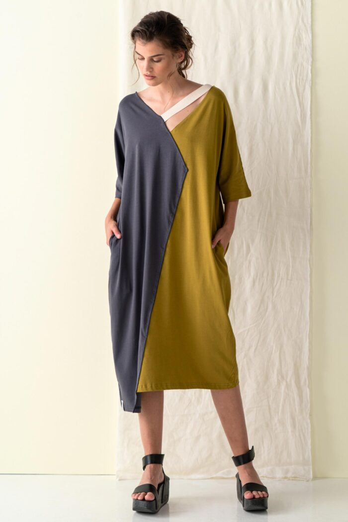 GREY THERA OVERSIZE ASYMMETRIC DRESS