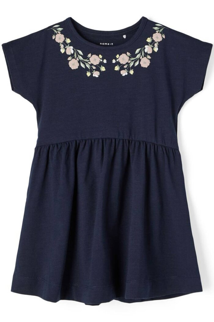 NAVY BLUE SHORT SLEEVES SUMMER DRESS