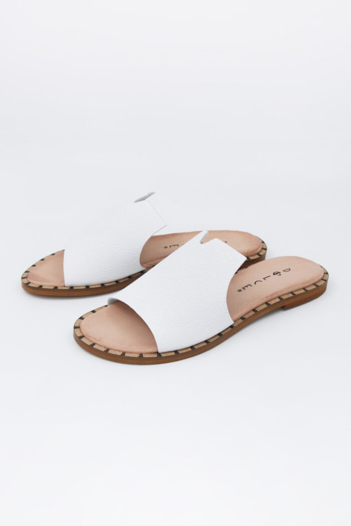 WHITE FLAT HANDMADE SLIDES SANDALS