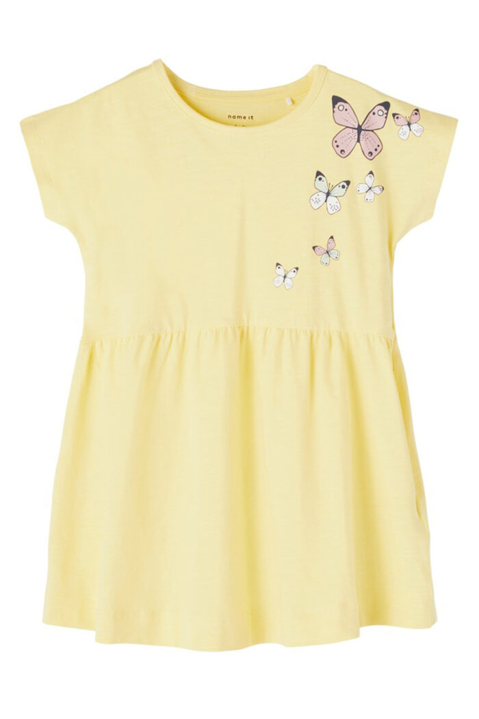 YELLOW SHORT SLEEVES SUMMER DRESS