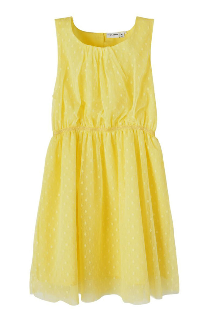 YELLOW DOTTED TULLE DRESS