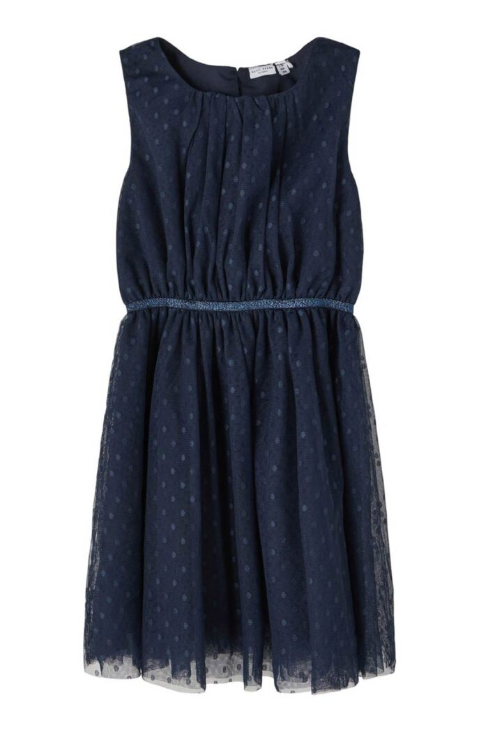 NAVY BLUE DOTTED TULLE DRESS