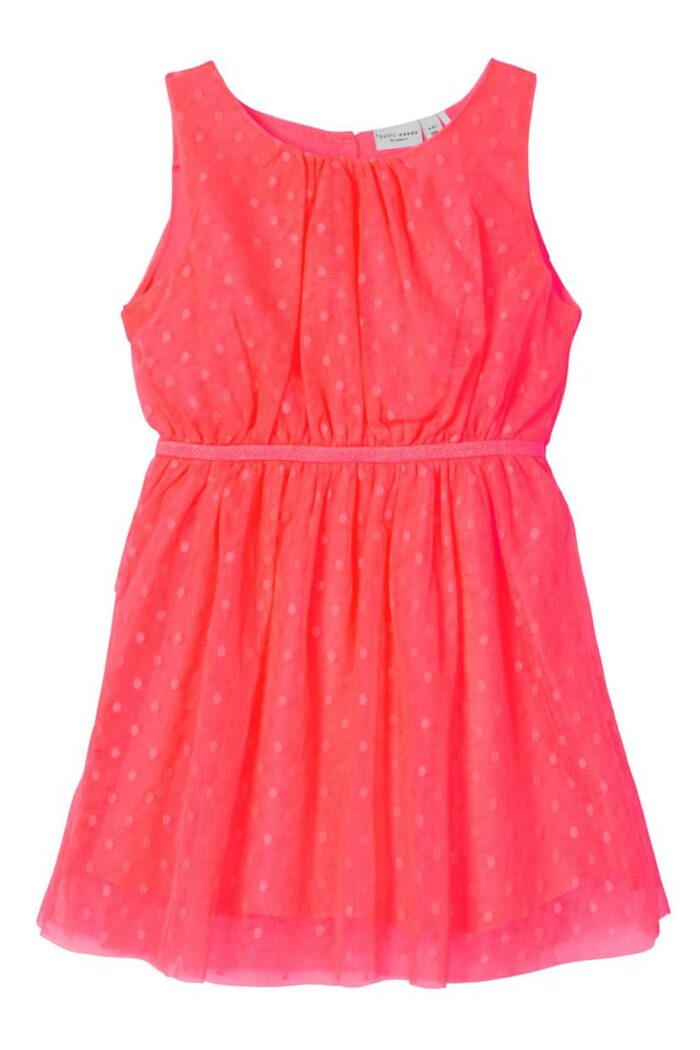 NEON CORAL DOTTED TULLE DRESS