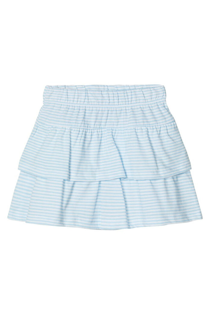 WHITE TIERED COTTON SKIRT WITH STRIPES