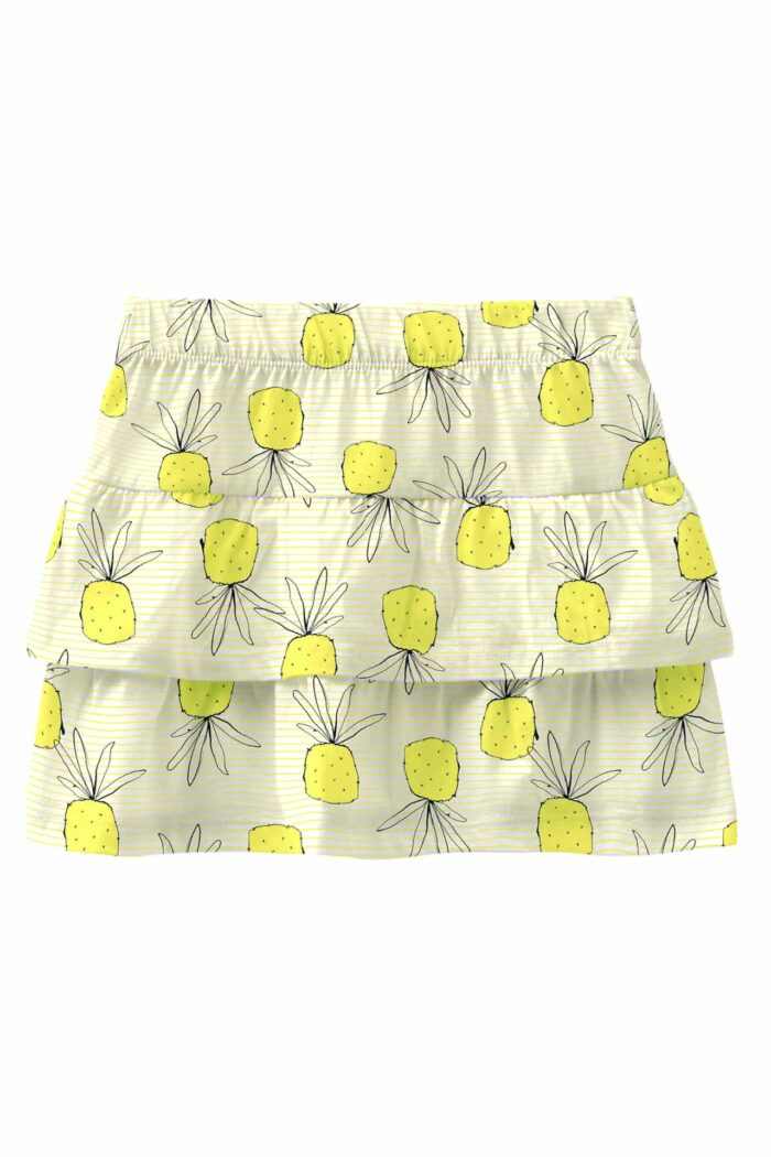 YELLOW TIERED COTTON SKIRT WITH PINEAPPLES