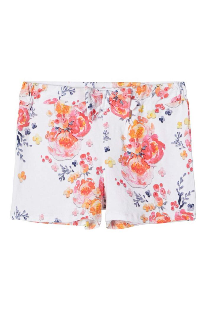 WHITE PRINTED JERSEY SHORTS WITH FLOWERS