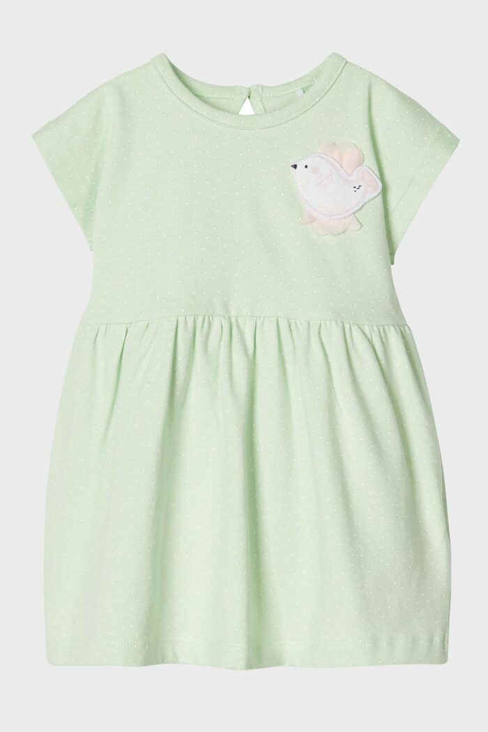 PISTACHIO BEBE PLEATED DRESS - BIRD APPLIQUE