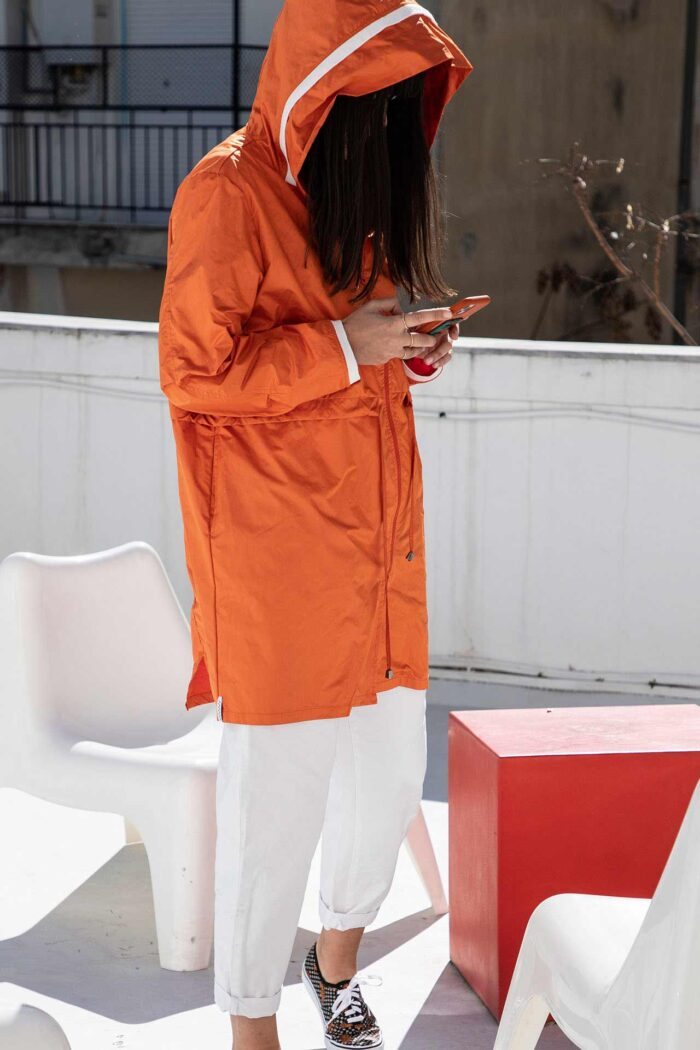 ORANGE KOS PARKA WITH HOODIE