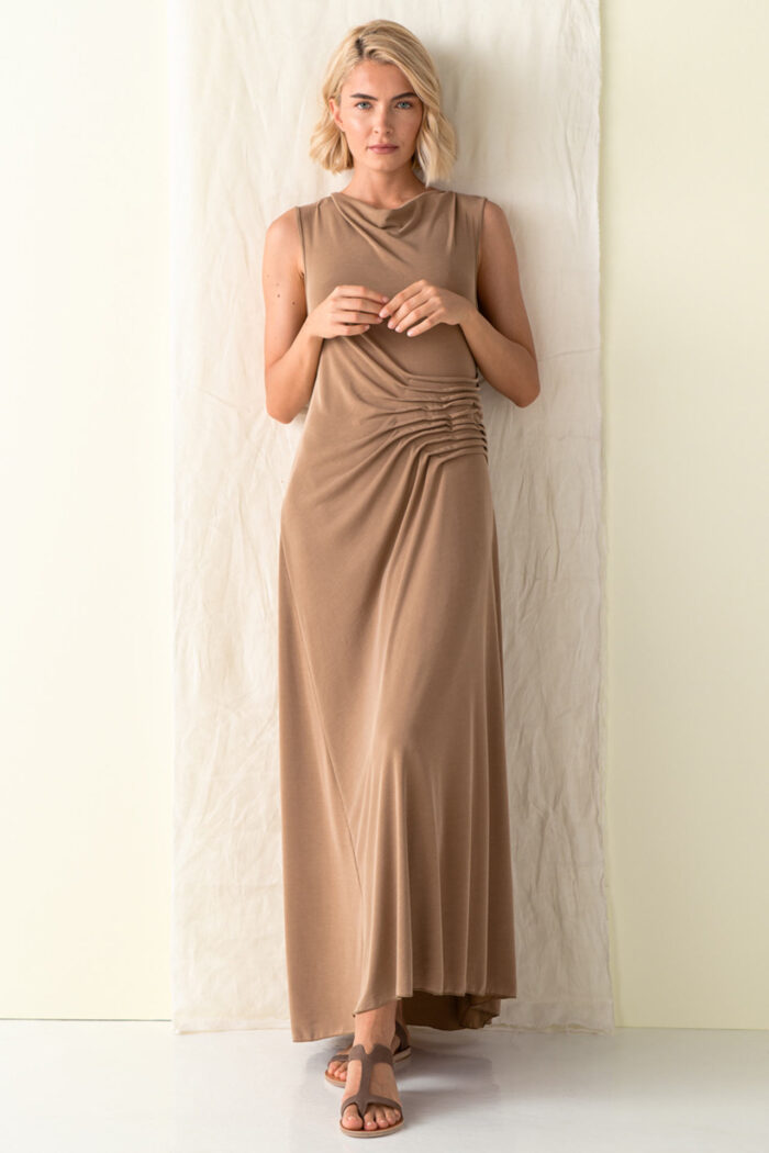 MOCHA TELENDOS ASYMMETRIC DRESS