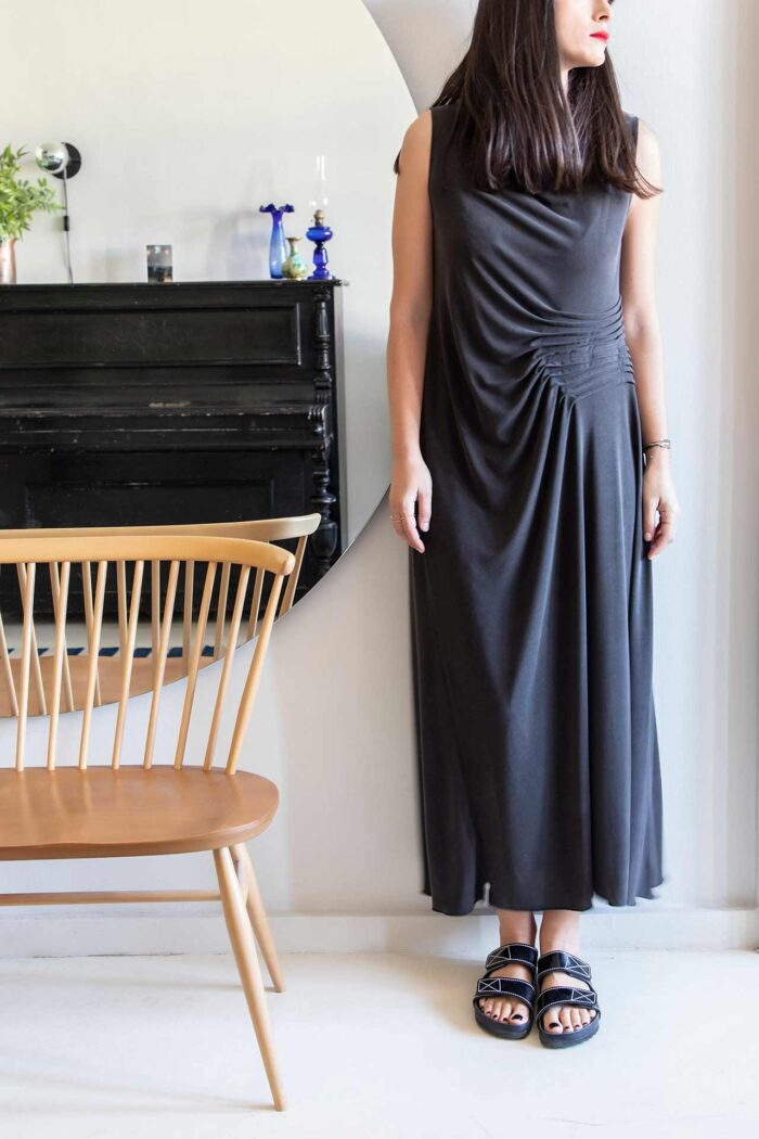 BLACK TELENDOS ASYMMETRIC DRESS
